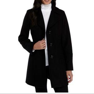 Anne Klein Black Single Breasted Wool Coat Size 8